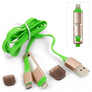 USB Data Cable micro USB, 2 in 1 for Apple iPhone 5, iPhone 5C, iPhone 5S, iPhone 6, iPhone 6 Plus, iPhone 6S, iPhone 6S Plus, iPhone SE Cell Phones;Apple iPad 4, iPad 5 Air, iPad Air 2, iPad Mini, iPad Mini 2 Retina, iPad Mini 3 Retina Tablets, (green, type 1)