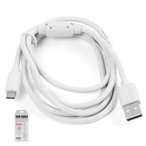 USB Data Cable KS-U303 (micro-USB) for All Brands universal Cell Phone, (white, 150 cm)