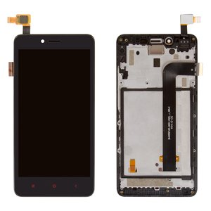 LCD for Xiaomi Redmi Note 2 Cell Phone, (black, with front panel, with touchscreen)
