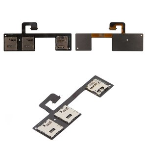 SIM Card Connector for HTC One M7 Dual Sim 802w  Cell Phone, (dual SIM, with memory card connector, with flat cable)