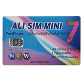 Ali SIM Mini 7 Upgradable Card for iPhone 5/5C/5S/SE/6/6+/6S/6S+/7/7+