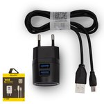 Charger Awei C-900, (plug-in, 220 V, (USB output 5V 2,1A), (USB connector 5V 1A), black, USB type-A, micro USB type-B)