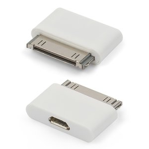 Адаптер micro-USB to 30 pin для мобильных телефонов Apple iPhone 2G, iPhone 3G, iPhone 3GS, iPhone 4, iPhone 4S; планшетов Apple iPad, iPad 2, iPad 3; MP3-плееров Apple iPod Mini 1G, iPod Nano 3G, iPod Nano 4G, iPod Photo 4G, iPod Touch 1G, iPod Touch 2G, iPod Touch 3G, iPod Touch 4G, iPod Video 30GB, iPod Video 80GB, белый, для зарядки телефона