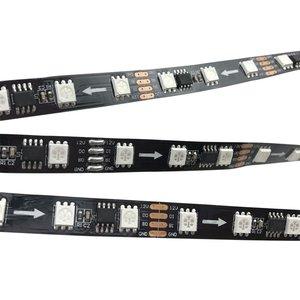 Світлодіодна стрічка RGB SMD5050, WS2818 (чорна, з управлінням, IP20, 12 В, 60 діодів/м, 5 м)