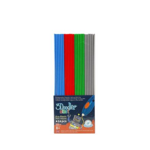 Набір стрижнів для 3D-Ручки 3Doodler Start (24 шт: сірий, блакитний, зелений, червоний)