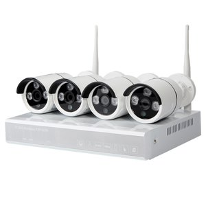 Set of MIPCK0410 Network Video Recorder and 4 Wireless IP Surveillance Cameras (720p, 1 MP)
